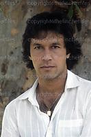 Imran Khan, Pakistani test cricketer seen in London in 1983.