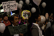Anti Nuclear protestors at the Friday night protests around the parliament building in Nagatacho, Tokyo, Japan Friday October 12th 2012