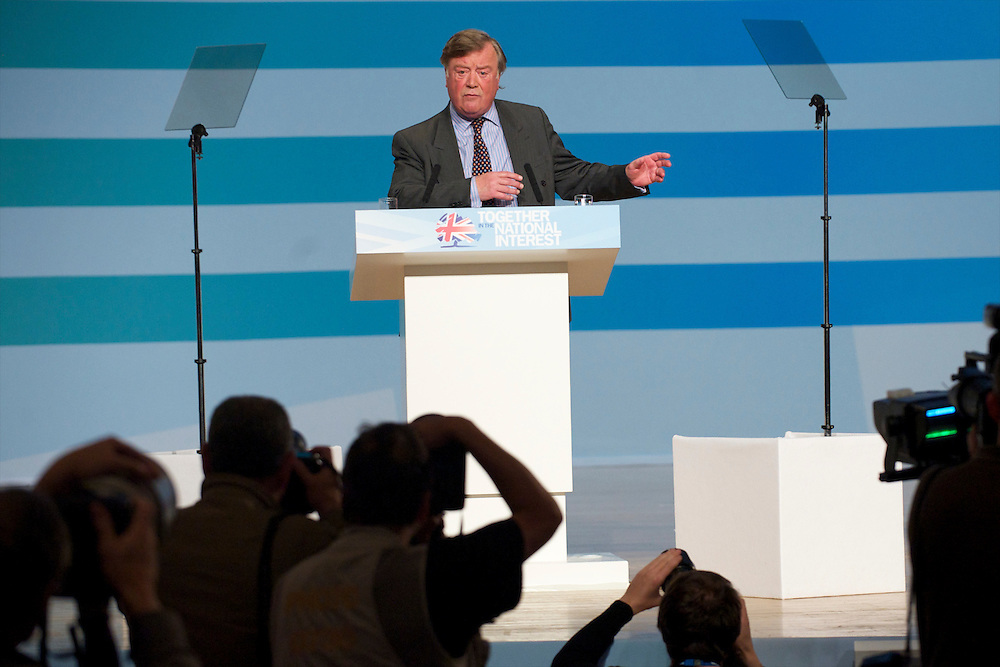 Secretary of State for Justice Kenneth Clarke addresses delegates on the third, and penultimate, day of the Conservatives Party Conference at the ICC, Birmingham, England on October 5, 2010.  This is the first conference since the government coalition with the Liberal Democrats.