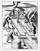 Washing ore to extract gold. Water fed into sieve (2) containing ore. Muddy solution fed along wooden collecting troughs, often lined with dark woollen cloth: gold separated out on the way. From 1683 English edition of Lazarus Ercker 'Beschreibung allerfurnemisten mineralischen Ertzt' of 1580. Copperplate engraving