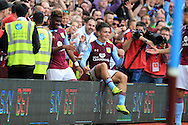 Jack Grealish of Aston Villa (c) celebrates after he  scores his teams 3rd goal .EFL Skybet championship match, Aston Villa v Rotherham Utd at Villa Park in Birmingham, The Midlands on Saturday 13th August 2016.<br /> pic by Andrew Orchard, Andrew Orchard sports photography.