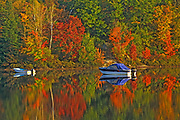Boats in autumn on Raven Lake<br />