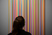 Myrrh by Bridget Riley in the HHH Gallery - Frieze Masters 2014 - including a huge range of works from religious relics, through old masters to contemporary art with prices upto millions of pounds. Regents Park, London, 14 Oct 2014.