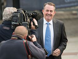 © Licensed to London News Pictures. 03/10/2017. Manchester, UK. Secretary of State for International Trade LIAM FOX on day three of the Conservative Party Conference. The four day event is expected to focus heavily on Brexit, with the British prime minister hoping to dampen rumours of a leadership challenge. Photo credit: Ben Cawthra/LNP