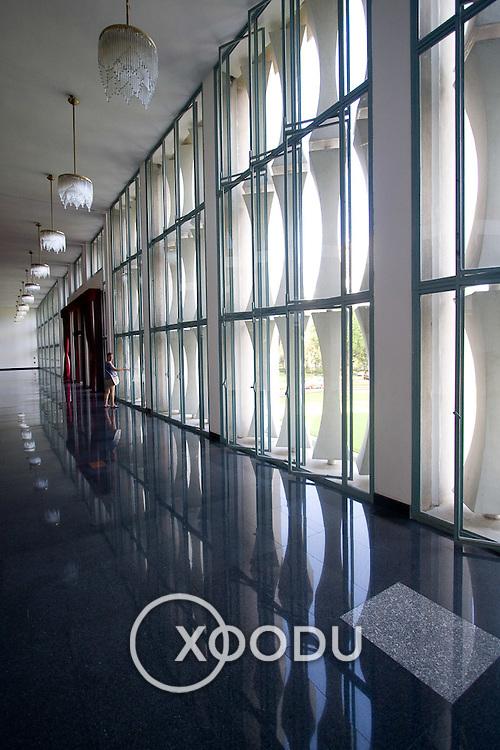 Wall of glazing (windows) inside Saigon Reunification Palace (Saigon (Ho Chi Minh City), Vietnam - Nov. 2008) (Image ID: 081104-1555411a)