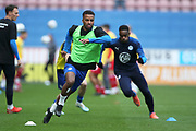 Wigan Athletic defender Nathan Byrne (2) warming up during the EFL Sky Bet Championship match between Wigan Athletic and Nottingham Forest at the DW Stadium, Wigan, England on 20 October 2019.