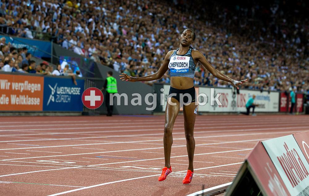 Beatrice CHEPKOECH of Kenya reacts after winning in the Women's 3000m Steeplechase during the Iaaf Diamond League meeting (Weltklasse Zuerich) at the Letzigrund Stadium in Zurich, Switzerland, Thursday, Aug. 29, 2019. (Photo by Patrick B. Kraemer / MAGICPBK)