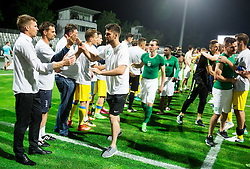 Simon Rozman, head coach of NK Domzale, Rok Kronaveter of NK Olimpija, Denis Klinar of NK Olimpija, Andraz Kirm of NK Olimpija  after winning during football match between NK Domzale and NK Olimpija Ljubljana in Final of Slovenian Cup 2017, on May 31, 2017 in Stadium Bonifika, Koper / Capodistria, Slovenia. Photo by Vid Ponikvar / Sportida
