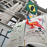 Carn-evil of Chaos with Samba drums demonstration  for climate change at embassy of Brazil, London, UK. 1st May 2019.
