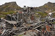 Crumbling mine ruins at the Independence Mine State Historical Park, Matanuska Valley, Talkeetna Mountains, Alaska.