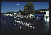 Henley on Thames. United Kingdom. Henley Prize, Imperial College Boat Club, London, celebrate victory over Trinity College, Dublin, Ireland.1990 Henley Royal Regatta, Henley Reach, River Thames. 06/07.1990<br /> <br /> [Mandatory Credit; Peter SPURRIER/Intersport Images] 1990 Henley Royal Regatta. Henley. UK