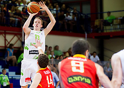 Miha Lapornik of Slovenia during basketball match between National teams of Slovenia and Spain in Qualifying Round of U20 Men European Championship Slovenia 2012, on July 18, 2012 in Domzale, Slovenia. Slovenia defeated Spain 70-63. (Photo by Vid Ponikvar / Sportida.com)