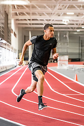 Brenna Detra and Christian Harrison, teammates on the B.A.A. Racing Team, workout at Gordon Indoor Track Center at Harvard University, Boston, MA, USA