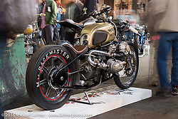 1980 BMW R100 rigid frame twin turbo built by Rebecca and Chris Canterbury of Boxer Metal at the One Show motorcycle show in Portland, OR. February 13, 2016. ©2016 Michael Lichter