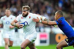 Joe Marler of England looks to get past Gael Fickou of France - Mandatory byline: Patrick Khachfe/JMP - 07966 386802 - 19/03/2016 - RUGBY UNION - Stade de France - Paris, France - France v England - RBS Six Nations.