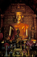 Luang Prabang, Laos, a UNESCO World Heritage Center..sitting buddha in a temple