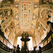 Wide angle view of ceiling of the great hall of the hospital of Santa Maria della Scala, Siena, Tuscany, Italy