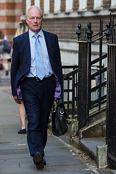 London, UK. 23 July, 2019. Peter Lilley, Baron Lilley, arrives to attend a celebration in Westminster of Boris Johnson's election as Conservative Party leader and replacement of Theresa May as Prime Minister organised by the pro-Brexit European Research Group (ERG).