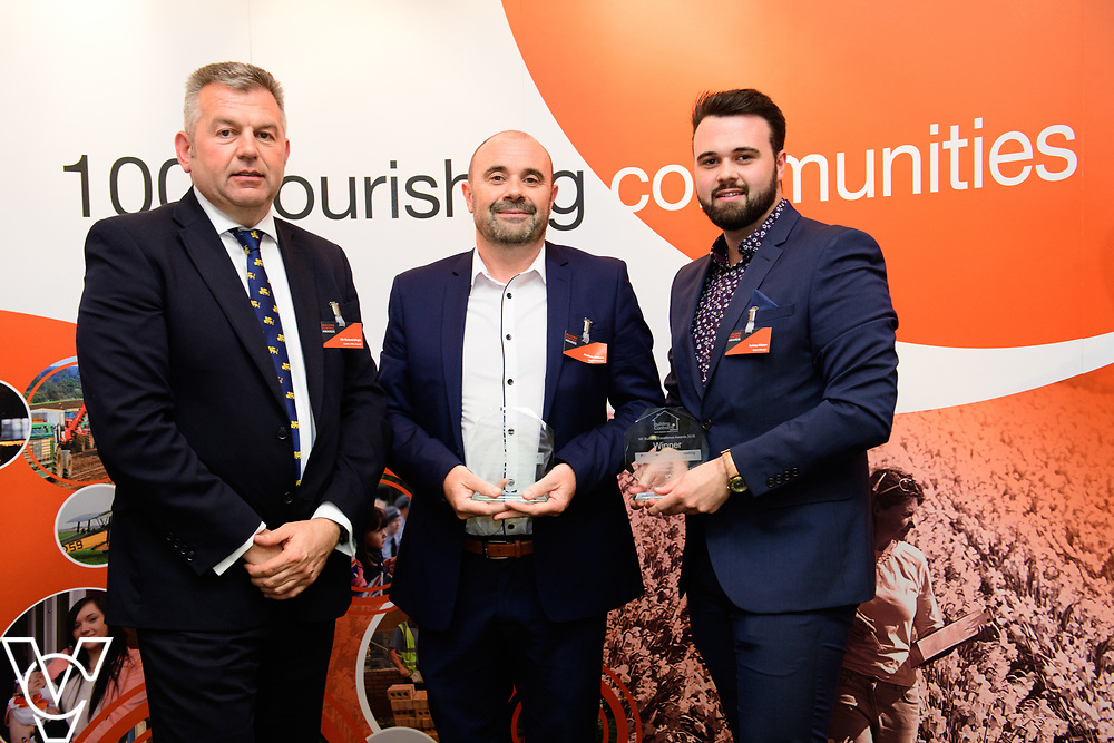 North Kesteven District Council's Building Control Awards 2018. NKDC leader Councillor Richard Wright presents the award for best change of use of an existing building or conversion.  Andrew Allison, centre, and Ashley Allison, right, from Ryland Design collect the award.<br /> <br /> Picture: Chris Vaughan Photography for NKDC<br /> Date: June 7, 2018