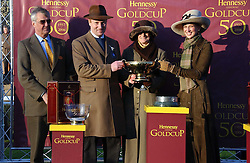 Left to right, MAURICE HENNESSY , Owners of State of Play winner of the 2006 Hennessy Gold Cup MR & MRS WILLIAM RUCKER and LADY GABRIELLA WINDSOR at the 50th running of the Hennessy Gold Cup at Newbury Racecourse, Berkshire on 25th November 2006.<br />