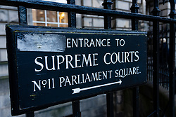 Sign for Supreme Courts at Parliament Square in Edinburgh Old Town, Scotland ,UK