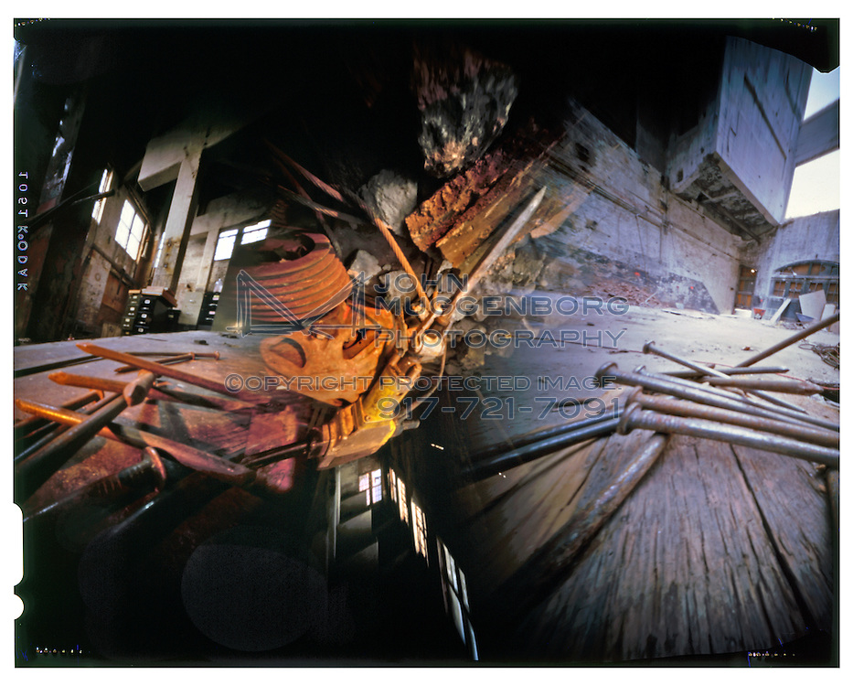 pinhole image of a jackhammer at a construction site in brooklyn, ny.