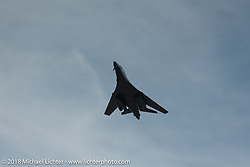 An Air Force B-1 Bomber from the 28th Bomb Wing does a Main Street flyover for military appreciation day during the 78th annual Sturgis Motorcycle Rally. Sturgis, SD. USA. Tuesday August 7, 2018. Photography ©2018 Michael Lichter.