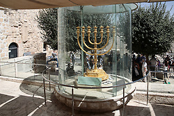 A golden menorah in the old city of Jerusalem. From a series of photos commissioned by  British NGO, Medical Aid for Palestinians (MAP).