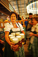 A waitress carrying 7 beer mugs in a tent during Oktoberfest in Munich, Germany.