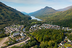 Aerial view from drone of villages of Kinlochleven left and Kinlochmore, Lochaber, Highland, Scotland, UK