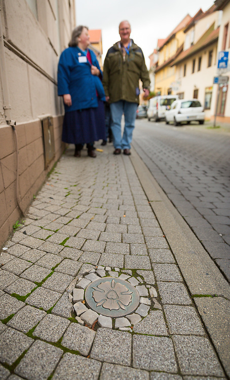 The Luther seal is embedded in a sidewalk in Eisleben, Germany.