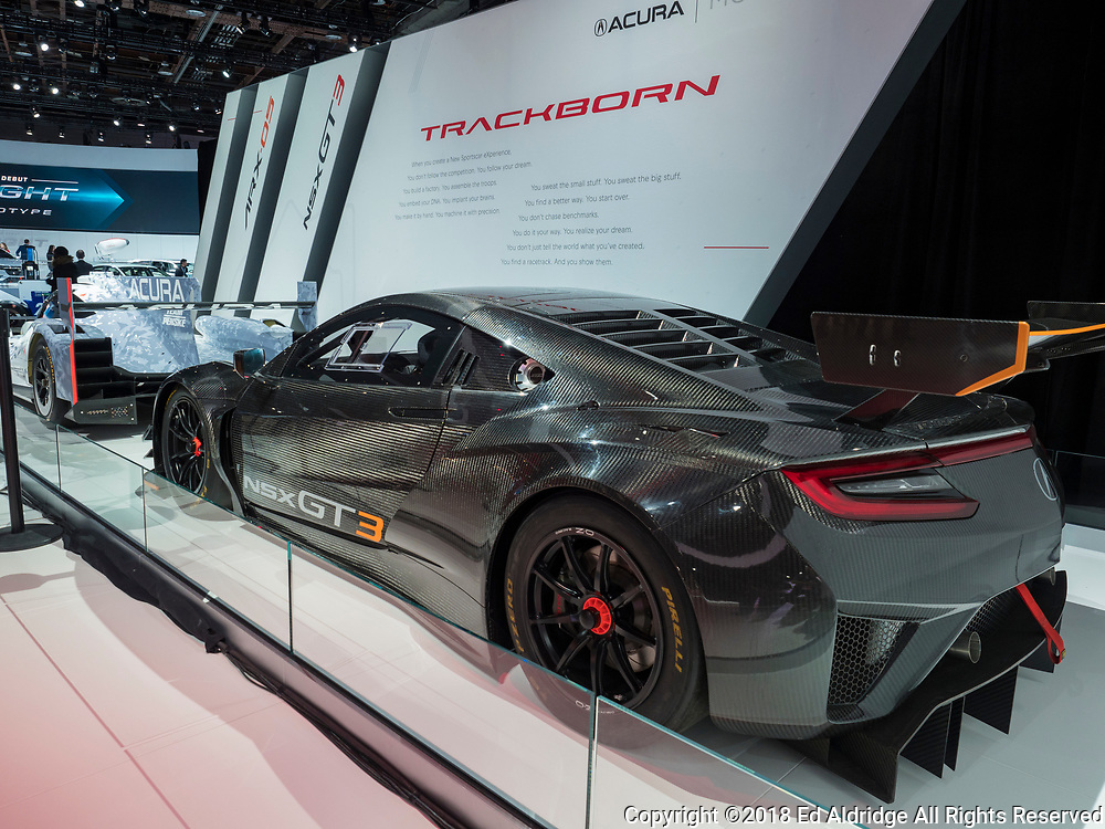 DETROIT, US - JANUARY 15, 2018: Acura IMSA GT3 race car on display during the North American International Auto Show at the Cobo Center in downtown Detroit.