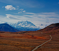 Stony Hill Scenic Overlook. Autumn Panorama of the Highway to Denali, Denali National Park, Alaska. Composite of 3 vertical images taken with a Nikon D3x and 85 mm f/2.8 TC-E lens (ISO 100, 85 mm, f/16, 1/100 sec).