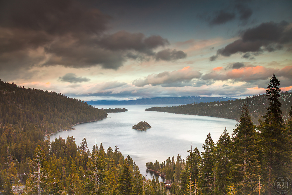 """""""Emerald Bay Sunset 1"""" - Photograph of Emerald Bay and Fannette Island at Lake Tahoe, shot at sunset."""