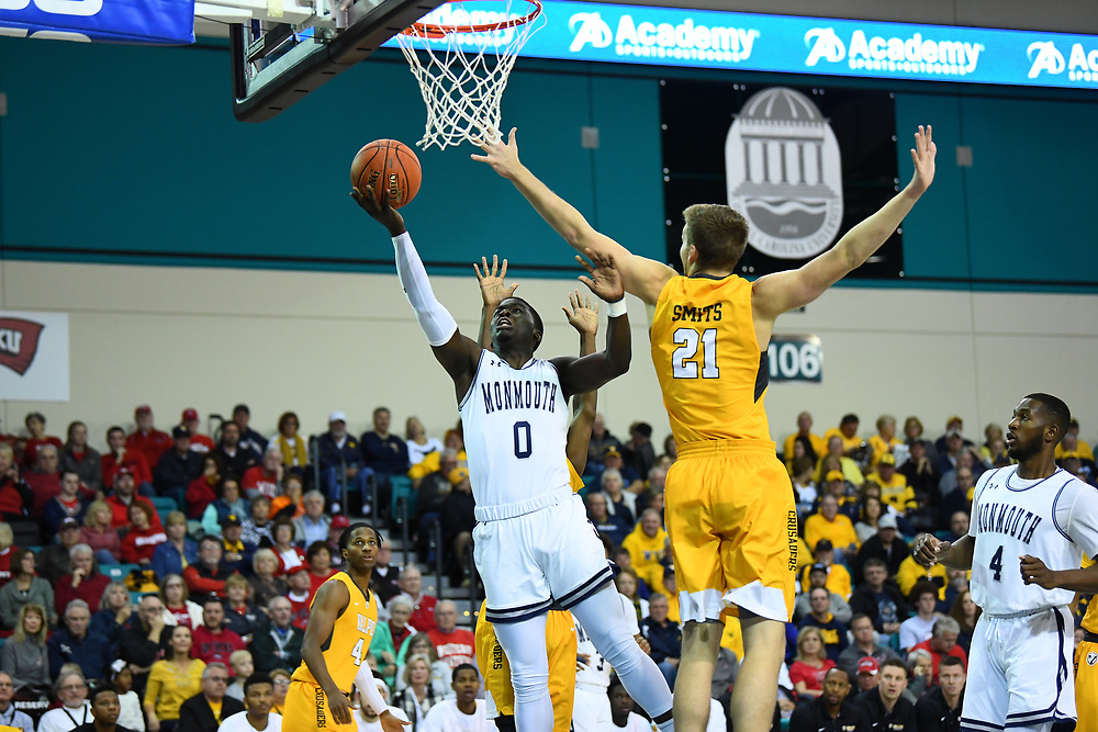 Conway, SC - November 16, 2018 - HTC Center: Ray Salnave (0) of the of the Monmouth University Hawks during the 2018 Myrtle Beach Invitational.<br /> (Photo by Joe Faraoni / ESPN Images)