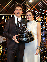 Geraint Thomas poses with his wife Sara Elen Thomas after winning the BBC Sports Personality of the Year award during the BBC Sports Personality of the Year 2018 at Birmingham Genting Arena.