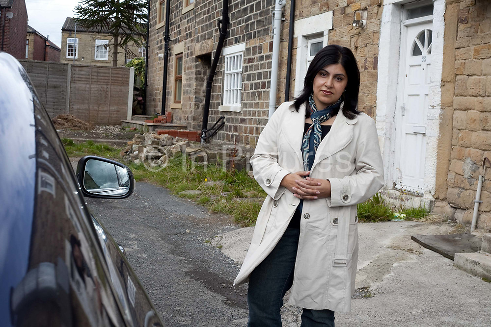 Baroness Sayeeda Warsi outside the house she was born in, 33 Dewsbury Gate Road. Being an entrepreneurial Muslim and daughter of an immigrant factory owner the shadow minister for community cohesion and social action, Baroness Warsi from Dewsbury, is seen by some Tories as one of the figureheads for the modern Tory party.