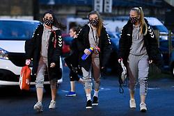 Carla Humphrey of Bristol City Women, Sophie Baggaley of Bristol City Women and Jemma Purfield of Bristol City Women arrives at Twerton Park prior to kick off - Mandatory by-line: Ryan Hiscott/JMP - 14/11/2020 - FOOTBALL - Twerton Park - Bath, England - Bristol City Women v Tottenham Hotspur Women - Barclays FA Women's Super League