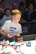 """16/02/2014 Repro Free Cian Roche from team Termin8tors from Moycullen in the final of  the 8th annual SAP FIRST LEGO League challenge in Galway!  The global theme for this year's competition; """"Nature's Fury"""" was very apt for Irish Students and many of the projects were inspired by recent disastrous impact of the weather in local communities.<br /> <br /> Of the 27 other teams who competed in this year's final, ten counties were represented with seven teams hailing from Dublin and six teams each coming from counties Galway and Wicklow. Judges on the day were bowled over once again by the incredibly high standard of creativity, professionalism and enthusiasm on display amongst the competitors. Photo:Andrew Downes."""