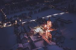 THEMENBILD - die beleuchtete Evangelische Kirche und der Ortskern von Ramsau am Dachstein bei Dämmerung in der winterlichen Landschaft, aufgenommen am 17. Dezember 2018 in Ramsau, Oesterreich // the illuminated Protestant church and the center of Ramsau am Dachstein at dusk in the wintry landscape, Ramsau, Austria on 2018/12/17. EXPA Pictures © 2018, PhotoCredit: EXPA/ JFK