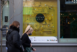 © Licensed to London News Pictures. 25/10/2020. Manchester, UK. Artwork by Playhouse Competition in Northern Quarter ready for the 50 Windows of Creativity art trail which will run from October 26th to December 5th, turning the city in to a large scale art gallery. Photo credit: Kerry Elsworth/LNP