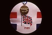 Bled, Slovenia, YUGOSLAVIA. GBR M8+, Bronze medal and GBR rowing shirt emblem1989 World Rowing Championships, Lake Bled. [Mandatory Credit. Peter Spurrier/Intersport Images]