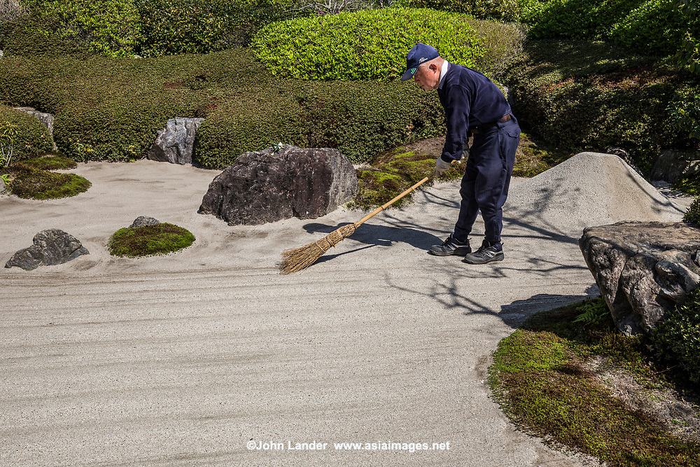 Meigetsuin Japanese Gardener - The karesansui zen garden of raked sand, rocks and plants at Meigetsuin Temple Garden represents legendary Mount Shumi or Sumeru an imaginary mountain in the Buddhist universe. According to records Meigetsuin was originally merely the guest house of a much bigger temple called Zenko-ji which was closed by the government during the Meiji period and is all that remains of the formerly important temple.