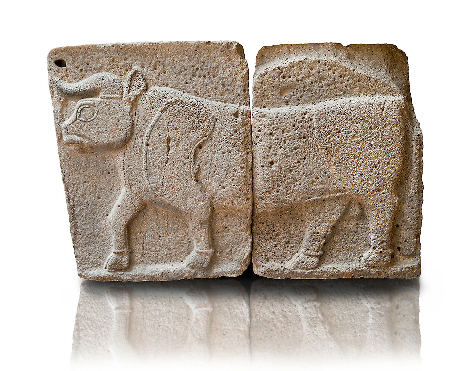 Late Hittite (Aramaean)  Basalt relief sculpture of a Bull from 9th Cent B.C, excavated from the west side of the citadel gate of Sam'al (Hittite: Yadiya) located at Zincirli Höyük in the Anti-Taurus Mountains of modern Turkey's Gaziantep Province. Istanbul Archaeological Museum Inv. No 7709. .<br /> <br /> If you prefer to buy from our ALAMY STOCK LIBRARY page at https://www.alamy.com/portfolio/paul-williams-funkystock/hittite-art-antiquities.html - Type - Samal - into the LOWER SEARCH WITHIN GALLERY box. Refine search by adding background colour, place, museum etc<br /> <br /> Visit our HITTITE PHOTO COLLECTIONS for more photos to download or buy as wall art prints https://funkystock.photoshelter.com/gallery-collection/The-Hittites-Art-Artefacts-Antiquities-Historic-Sites-Pictures-Images-of/C0000NUBSMhSc3Oo