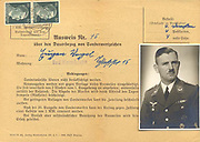 Germany: Pass for  continuation of special benefits for Luftwaffe officer shown in the photograph. Document,  issued in Bad Warmbrunn in 1943, is authenticated by two franked 50 phenig stamps showing Hitler's head.