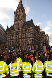 © under license to London News Pictures. 24/11/2010: Students in Manchester protest against cutbacks and the coalition government's proposed rise in tuition fees. 100s of students broke away from the planned demonstration route and tried to enter the Town Hall.