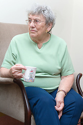 An older lady enjoying a coffee morning in the communal lounge of a warden aided home,