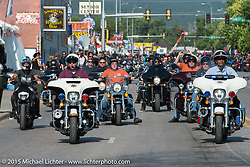 The annual Sturgis, SD Mayor's ride during the 75th Annual Sturgis Black Hills Motorcycle Rally.  SD, USA.  August 3, 2015.  Photography ©2015 Michael Lichter.