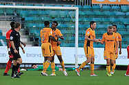 Marlon Jackson of Newport county (13) celebrates after he scores his teams 1st goal. EFL cup, 1st round match, Newport county v Milton Keynes Dons at Rodney Parade in Newport, South Wales on Tuesday 9th August 2016.<br /> pic by Andrew Orchard, Andrew Orchard sports photography.