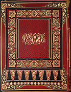 The design and calligraphy on the back outer book cover from the book 'L'Espagne' [Spain] by Davillier, Jean Charles, barón, 1823-1883; Doré, Gustave, 1832-1883; Published in Paris, France by Libreria Hachette, in 1874